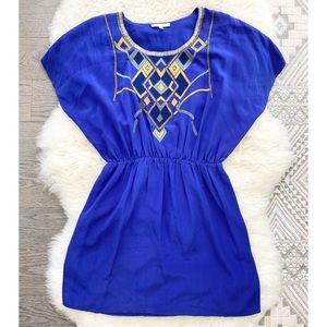 Le Petites Cobalt Blue Silk Embellished Mini Dress